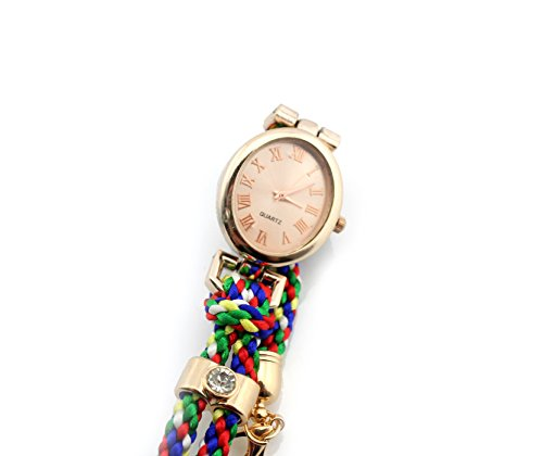 Big Dragonfly Stylish Women'S Round Quartz Watch Timer With Colorful Fabric Rope Woven Wrist Band(Green)) front-630132