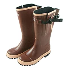 Extra Wide Fit Brown Hard Wearing Rain Boots - Fit up to 20 inch calf