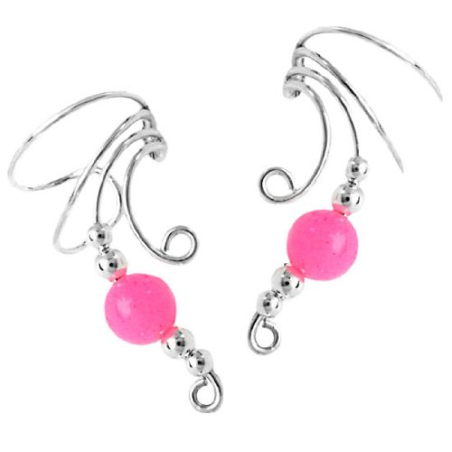 Sterling Silver Pink Jade Round Bead Wave Ear Cuff Wrap Set