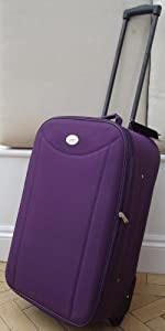 Purple Small 48 Lts Travel Luggage Suitcase On Wheels Expanding Trolly Light Weight