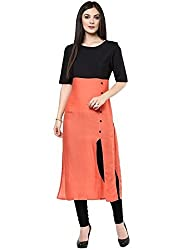 Femeie Apparel Women's Cotton Kurti (designer_Orange and Black_f)