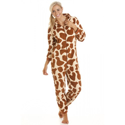 Camille Womens Ladies All In One Onesie Jumpsuit Giraffe Fleece
