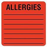 Tabbies 40560 - Medical Labels for Allergies, 2 x 2, Orange, 500/Roll-TAB40560