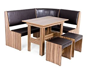 kitchen table set and corner bench with stools made of