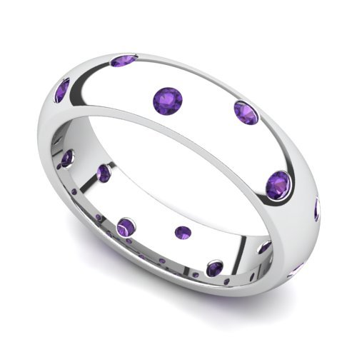 14k White Gold Bezel set Amethyst Semi Eternity Band Ring