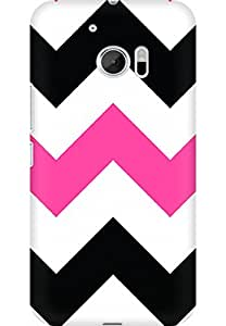 AMEZ designer printed 3d premium high quality back case cover for HTC One M10 (zig zag pink)