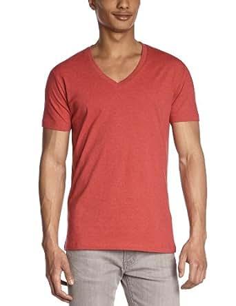 SELECTED HOMME Herren T-Shirt Regular Fit 16021572 Drill ss single deep v-neck, Gr. 56 (XXL), Rot (Chilli Pepper Melange)