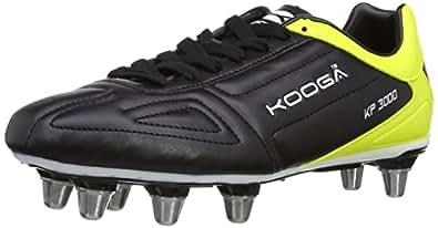 Kooga Unisex Adult 31419 KP 3000 LCST 8 Stud Rugby Boots - Black/Yellow/White, 8 UK, 42 EU Regular