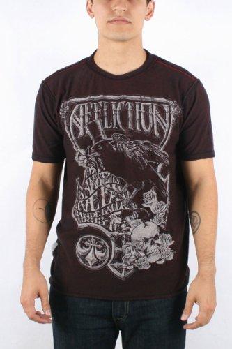 Affliction - Mens Grande Rev.Crewneck T-Shirt In Blk Lava/Dirty Red Lava, Size: Medium, Color: Blk Lava/Dirty Red Lava