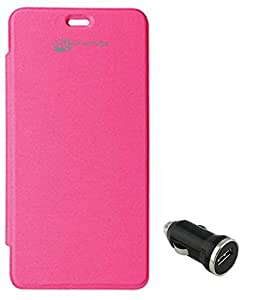 TBZ Flip Cover Case for Micromax Unite 2 A106 with Car Charger -Magenta