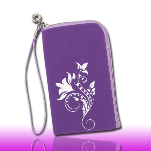Handy Tasche lila/violett/weiß L2 für Samsung C3312 Rex60 / S5222R Rex80 / Galaxy Young S6310 / Galaxy Young Duos S6312 / Galaxy Pocket Plus S5301 / Samsung Galaxy Pocket Neo S5310 / Alcatel OT 903D / Alcatel OT Star 6010D