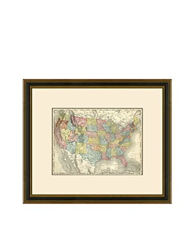 Antique Map of the United States, 1886-1899