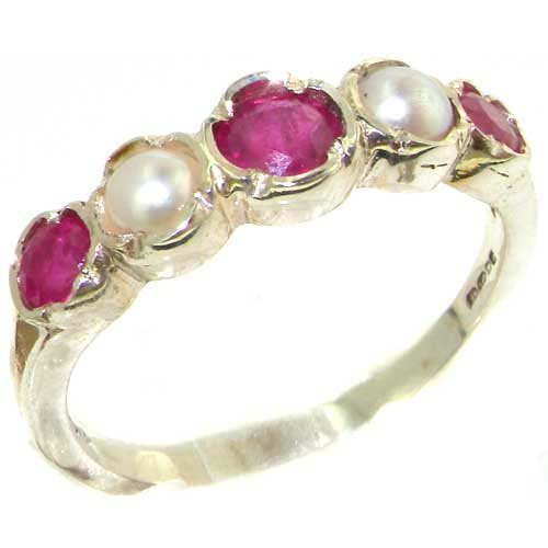Genuine Solid Sterling Silver Natural Ruby & Pearl Womens Eternity Ring - Size 11.25 - Finger Sizes 4 to 12 Available - Suitable as an Anniversary ring, Engagement ring, Eternity ring, or Promise ring