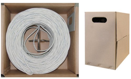C&E 1000 feet CAT5E 24AWG 4PR Solid Shielded Ethernet Cable STP White