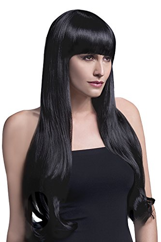 Fever Women's Bella Wig 28Inch 71Cm Natural Wave with Fringe, Black, One Size