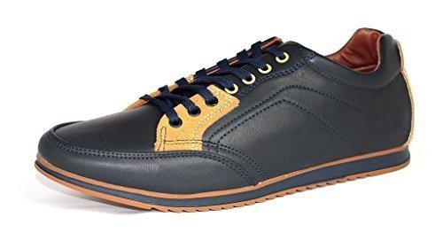 Da Uomo Casual Tela Scarpe Da Ginnastica Stringate scarpe Corsa décolleté UK 6 7 8 9 10 11 - Blu scuro/Marrone, 11 UK / 45 EU