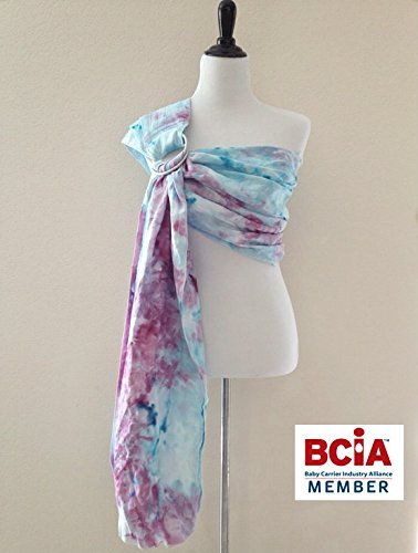 Bibetts Pure Linen Ring Sling 'Light Blue & Purple Tie Dyed'