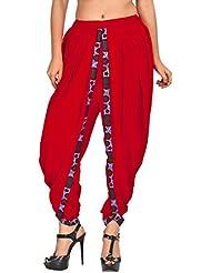 Elegant And Classic Red Color Rayon Dhoti Pant, Patiala Dhoti Salwar For Women, Girls From Khazana Basics