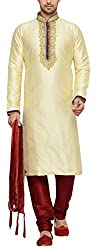Indian Poshakh Mens Silk Sherwani (1171_38, 38, Gold and Red)