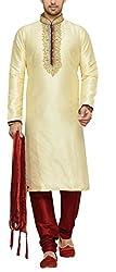 Indian Poshakh Men's Silk Sherwani (1171_38, 38, Gold and Red)