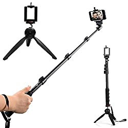 ApeCases Branded Extendable handheld Yunteng 188 selfie stick Pro 2-In-1 Adjustable Self Portrait Yunteng Selfie Stick Monopod + YunTeng YT-228 Mini Tripod for Camera and iPhone, Smartphones with Bluetooth Remote Shutter