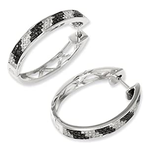 IceCarats Designer Jewelry Sterling Silver Black White Diamond Hoop Earrings