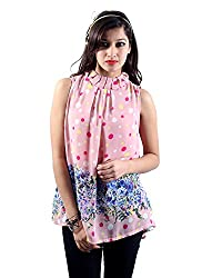 Envy Women's Blended Banded Collar Tops (03960PINKNA, Pink, Free Size)