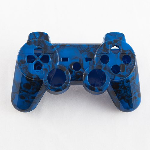 Blue Dead Head Skull Hydro-Dipped Custom Controller Shell For Ps3 front-244962