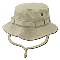 Khaki Tan Combat Style Drawstring Boonie Bucket Hat-medium