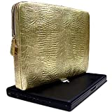 DataSafe RFID Shielding Italian Leather Croc Embossed Accordian Zip Credit Card Wallet