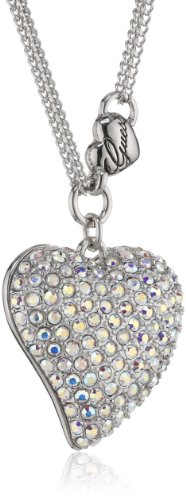 Guess Damen-Halskette Silberfarben Rhodiniert Anhänger mit Weien Schmucksteinchen 45-50cm UBN80124 thumbnail