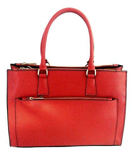 DEEP ROSE Borsa in Vera Pelle cuoio saffiano Donna Made in Italy a spalla a mano shopper con tracolla art. SONIA