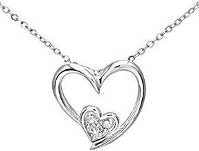 Naava 9ct White Gold Pave Set Diamond Double Heart Pendant and Chain of 46cm