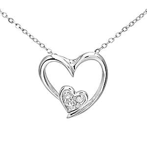 Collier Femme avec pendentif - PP03110W - Coeur - Or Blanc 375/1000 (9 Cts) 0.5 Gr - Diamant