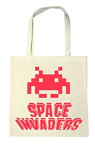 Space Invaders Shopping Bag - Reusable. Eye-catching, retro design.
