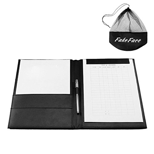 Clobeau High-Grade PU Leather Office Meeting Pad A4 File Paper Storage Folders Drawing Writing Desk Board Conference Folder Clipboard Signature with Magnets Clips, Black (Present a Drawstring Bag) (Hotel Desk Folder compare prices)
