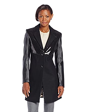 Sam Edelman Women's Wool Coat with Sequins, Black, X-Small