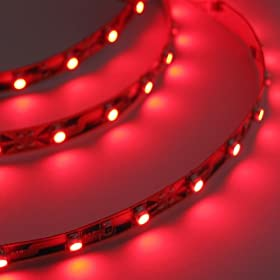  Hitlights LED Red Flexible LED Ribbon Lighting Strip, 300 LEDs, 3528 Type SMD, 5 Meter or 16.4 Ft, 12 Volt, 24 Watt