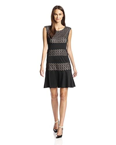 London Times Women's Lace Fit and Flare Dress
