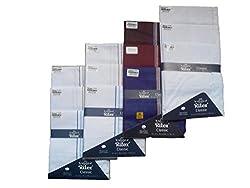 Ritex Dark & White Colour 100% Cotton Handkerchiefs for Men- Pack Of 12 Pcs.
