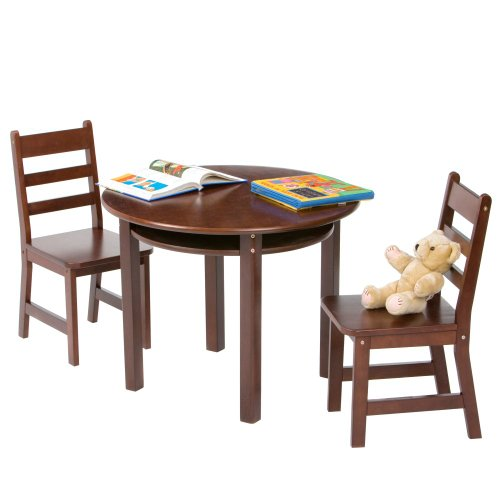 Best Buy! Lipper International Child's Round Table With Shelf And Two Chairs - Espresso