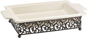 Attractive Rectangular Ceramic Serving Platter on Scroll Designed Pressed Metal Base -... by Danbury