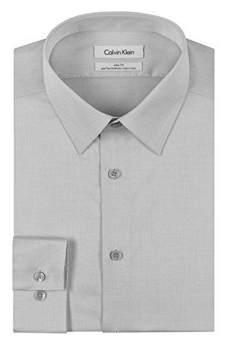 Calvin Klein Men's Slim Fit Non-Iron Herringbone Point Collar Dress Shirt, Smoke, 17