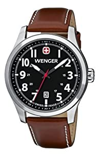 Wenger Terragraph Watch, Black Dial Brown Leathe Strap 541.102