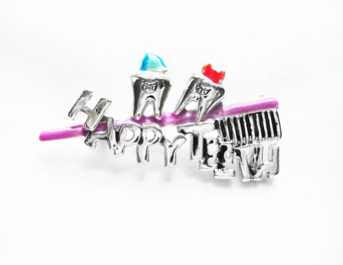Danecraft Silver-Plated Happy Teeth Dentist Dental Hygiene Hygienist Toothbrush Pin Brooch