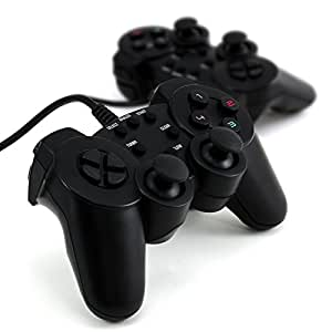 CSL - 2x Gamepad für Playstation 2 PS2 mit Dual Vibration - Joypad Controller Set | schwarz