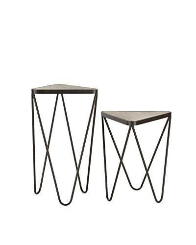 Artistic Lighting Set Of 2 Angular Side Tables, Antique Silver/Bronze