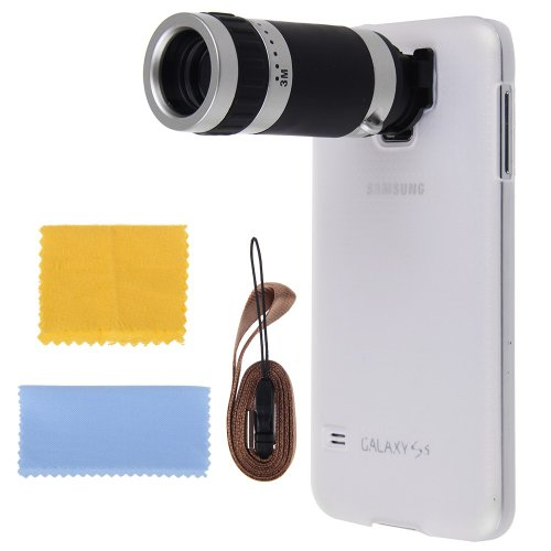 Sanheshun 8X Zoom Camera Phone Telescope Lens W/ Case Compatible With Samsung Galaxy S5 I9600 G900 Color Black&Silver