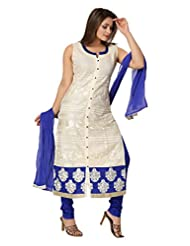 Ritu Creation Women's New Cotton Stitched Chudidar Suit With Front Cut And Heavy Embroided Work(White)