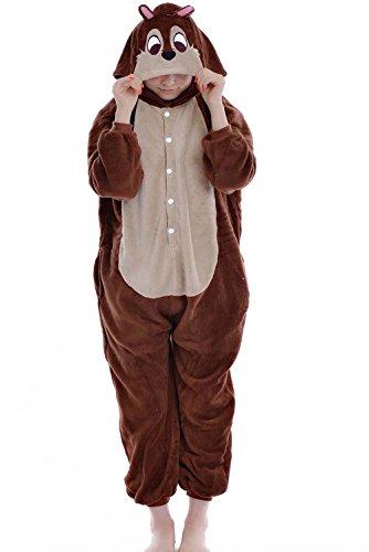 [Unisex Adult Chipmunk Kigurumi Animal Onesie Pajamas Costume Cosplay Clothing Sleepwear Romper] (Role Reversal Halloween Costumes)
